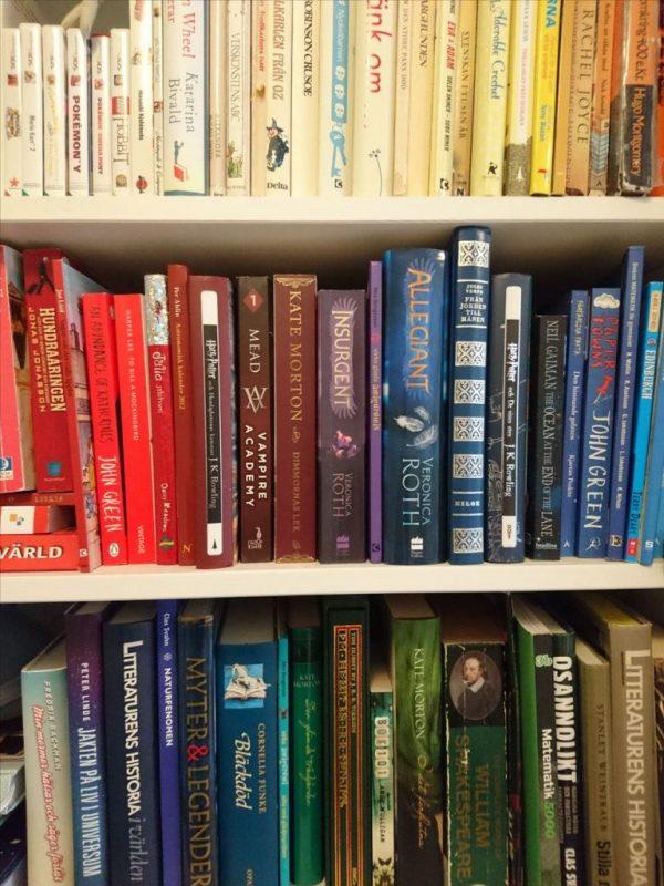 Färgsorterad bokhylla.